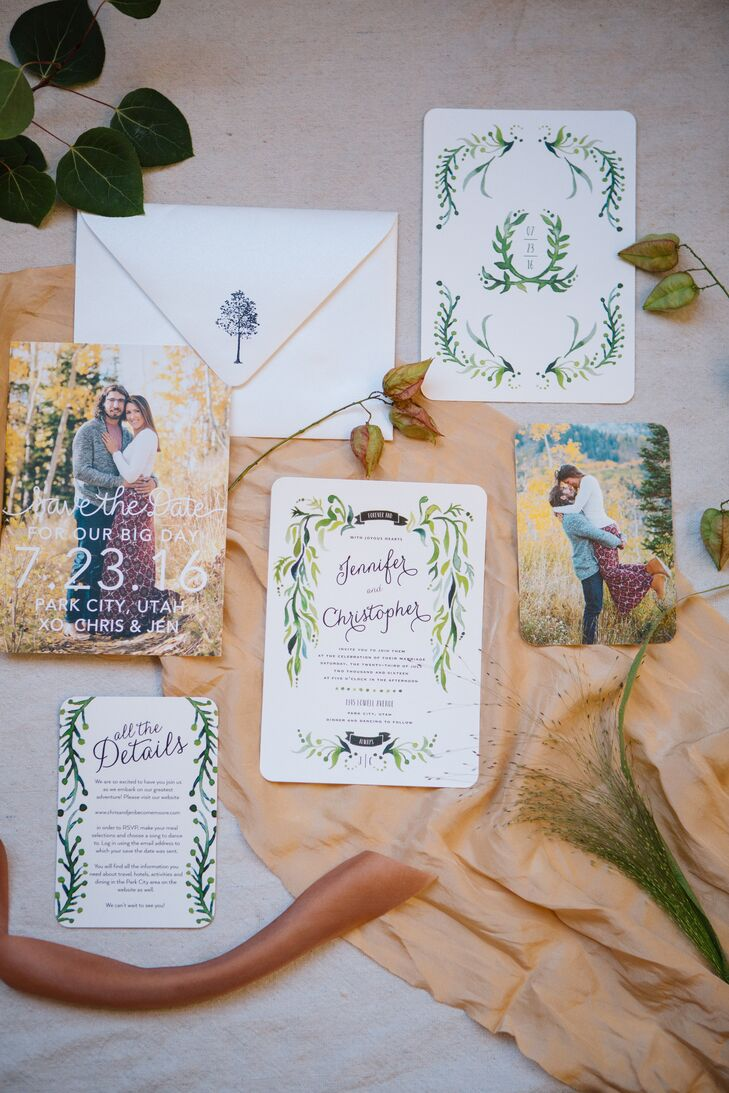 Wedding Paper Divas crafted Jen and Chris's romantic, outdoorsy invitation suite.