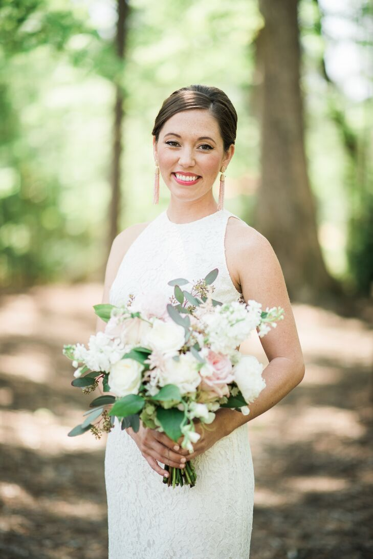 """""""Our wedding planner was also our floral designer, and she did an incredible job putting together arrangements that were beautiful, subtle and exactly what we envisioned,"""" says Mary, who requested that peonies (her favorite flower) be included in her bouquet."""