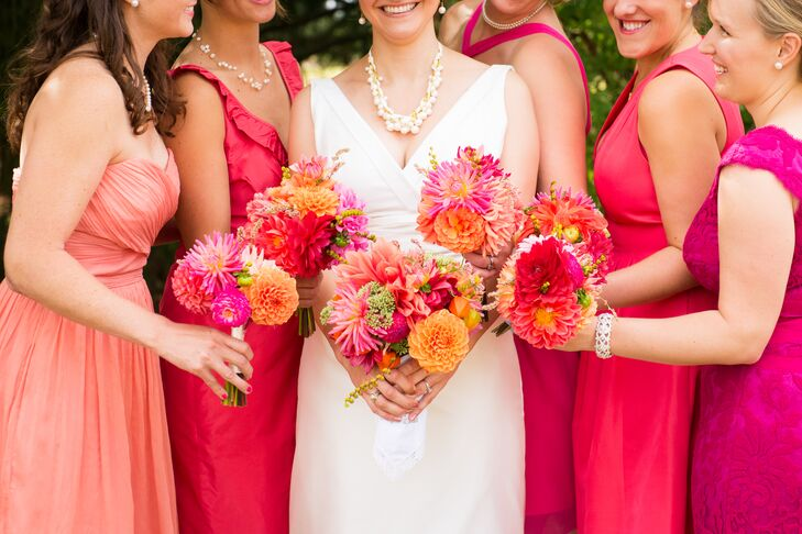 """""""The mismatched bridesmaid dresses were a win because of the trend but I also wanted my friends to feel beautiful and to want to wear their dress again.  All of our fashion decisions were made with this frame of mind and to fit with the feel of the wedding: for people to be comfortable and to enjoy themselves,"""" says Amaia."""