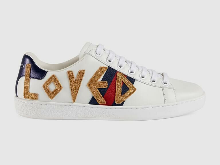 White Gucci sneakers with navy and red details and LOVED in gold