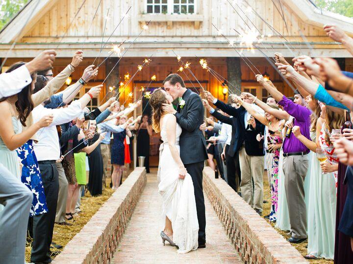 Bride and groom kiss under sparkler exit