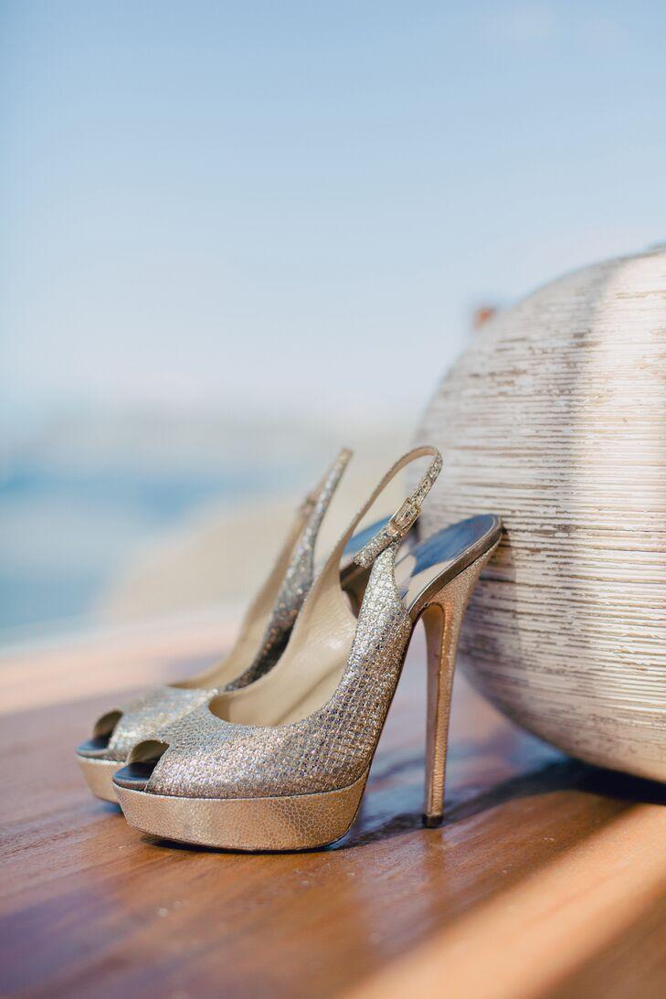 The bride walked down the aisle in style in these metallic, peep-toe Jimmy Choo heels.