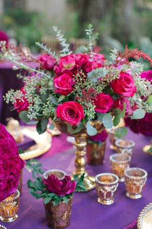 Pink Roses and Greenery Centerpieces