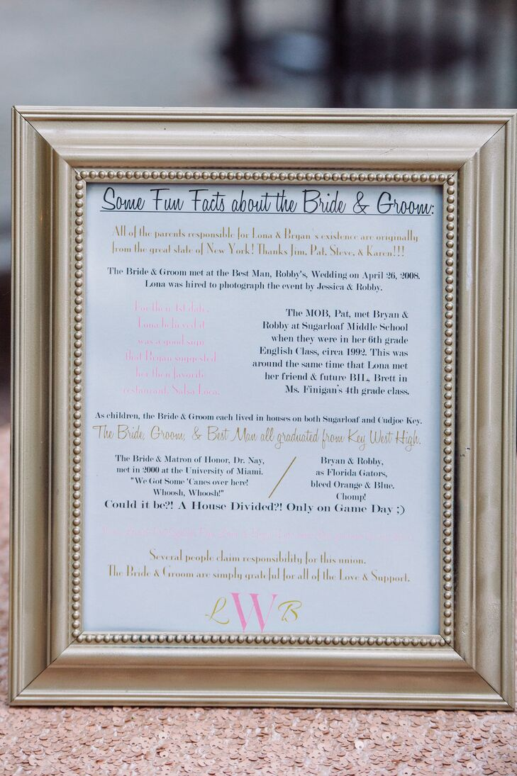 """The couple kept the evening fun with some """"Fun Facts About the Bride & Groom,"""" letting guests in on some cute tidbits."""