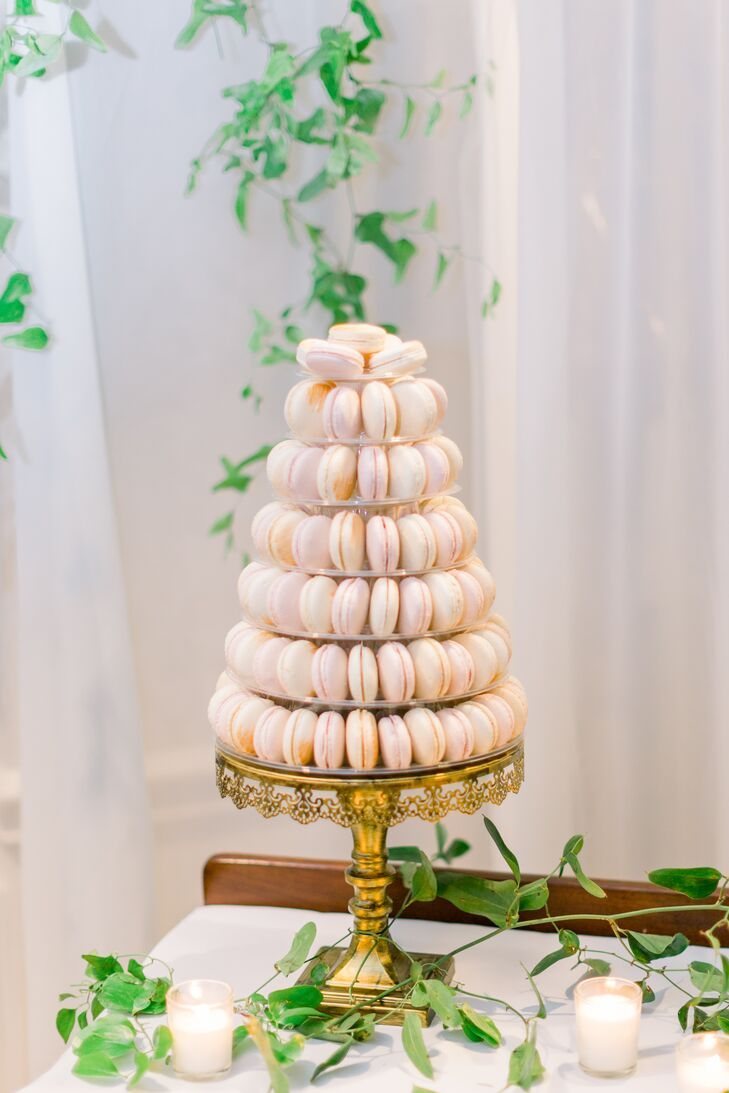 Elegant Macaron Display on Cake Stand