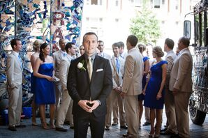 Groom with Groomsmen on a Mosaic Patio Before First Look