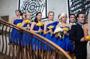 Bridesmaids in Cobalt Blue With Yellow Calla Lily Bouquets