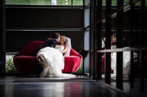 Newlyweds Share a Kiss on a Lip Shaped Loveseat