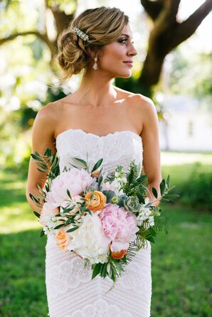 Bouquet with Blush and Ivory Peonies and Orange Ranunculus