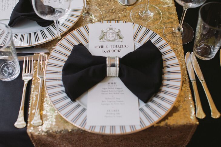Glam Striped Dinnerware and Gold Sequined Table Runner