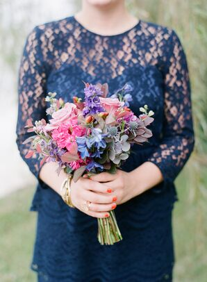 Pink, Purple and Blue Garden Bridesmaid Bouquets