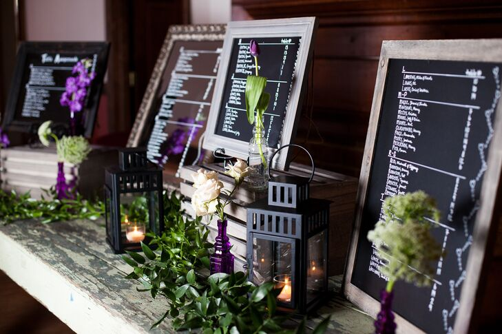 A selection of wines from Williamsburg winery were listed on signs at the reception for guests to choose from.