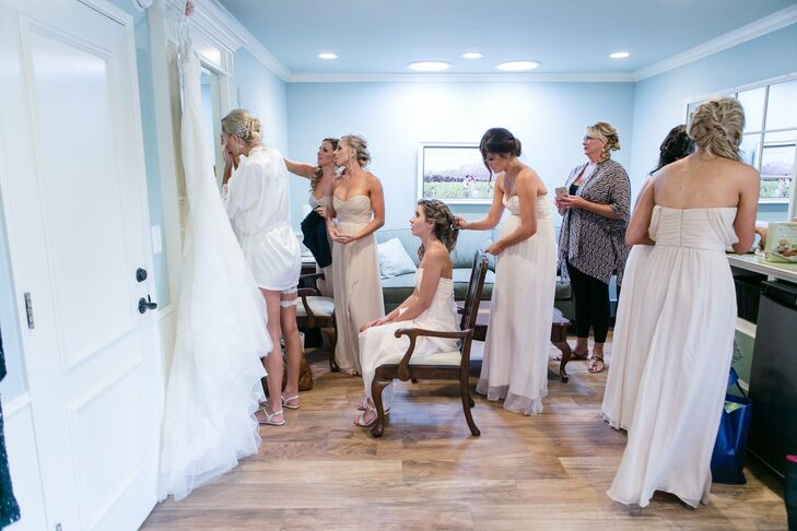 Allie found her bridesmaid dresses and her gown at the White Dress, a bridal salon in Corona Del Mar, California. She ended up falling in love with the first dress she tried on.