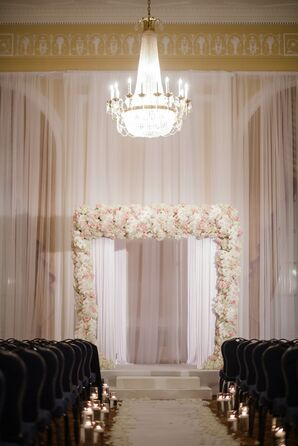 White and Blush Wedding Arch With Hydrangeas