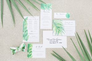 Watercolor Invitations with Tropical Leaf Motif
