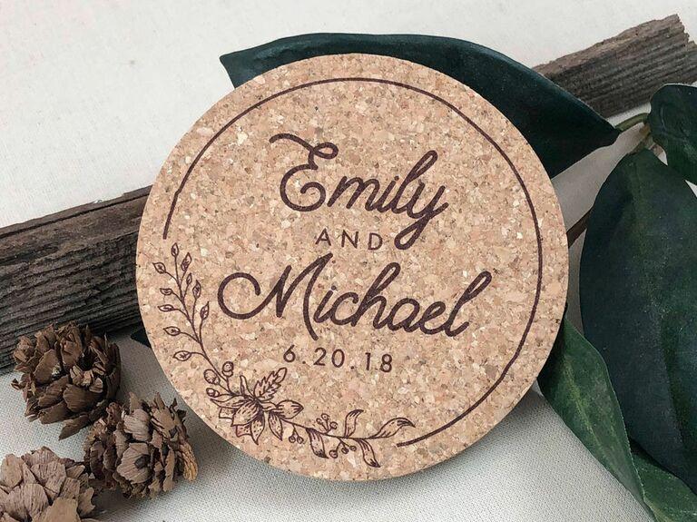 custom cork coaster wedding favor