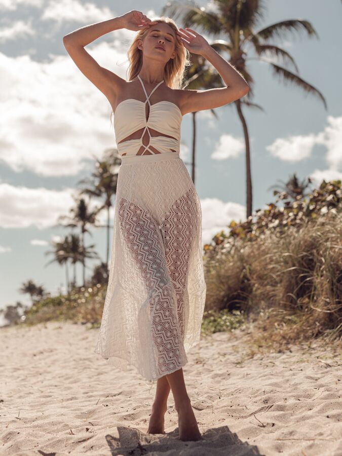 PatBO crochet beach skirt and lace-up swimsuit