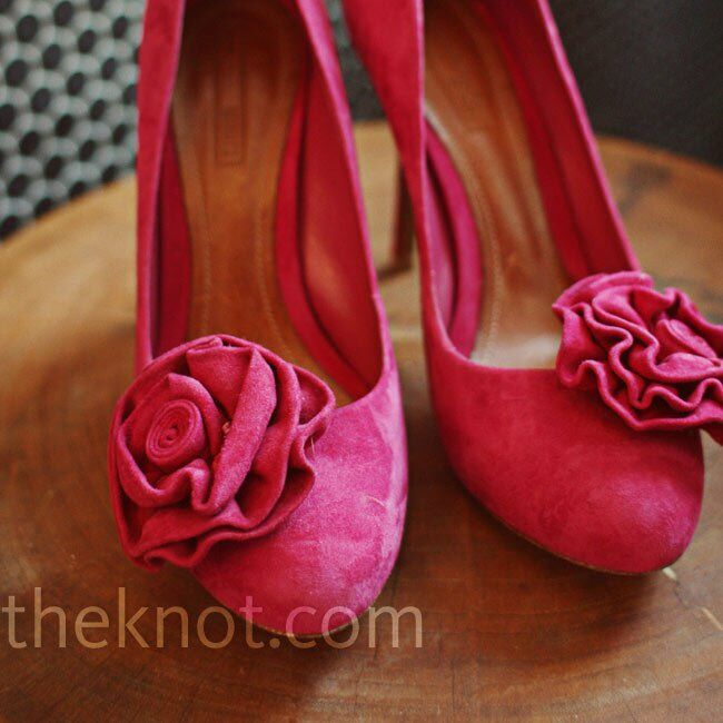 These bright-pink shoes with a floral detail inspired the day's daring color palette.