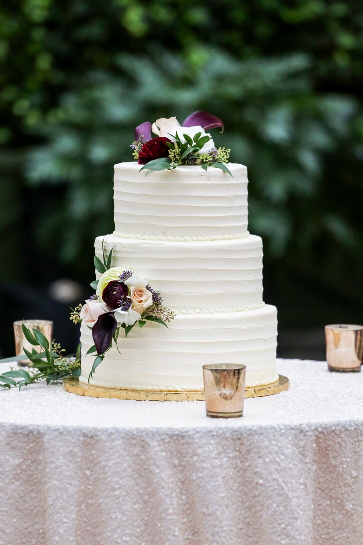 The elegant three-tier cake was gluten-free carrot cake.
