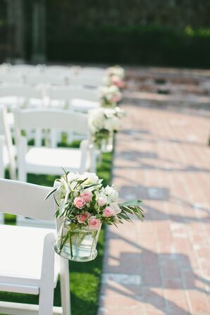 White and Pink Rose Aisle Arrangements