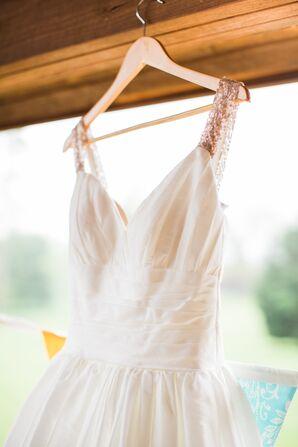 Gold-Sequined Strap David's Bridal Wedding Dress