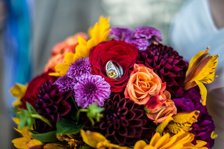 Bright Purple and Red Bouquet with Roses and Dahlias
