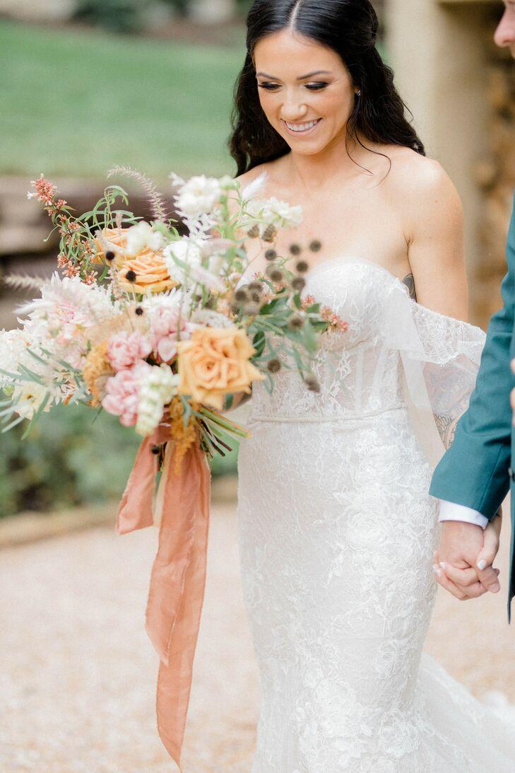 Whimsical Wedding Bouquet with Orange Ribbon