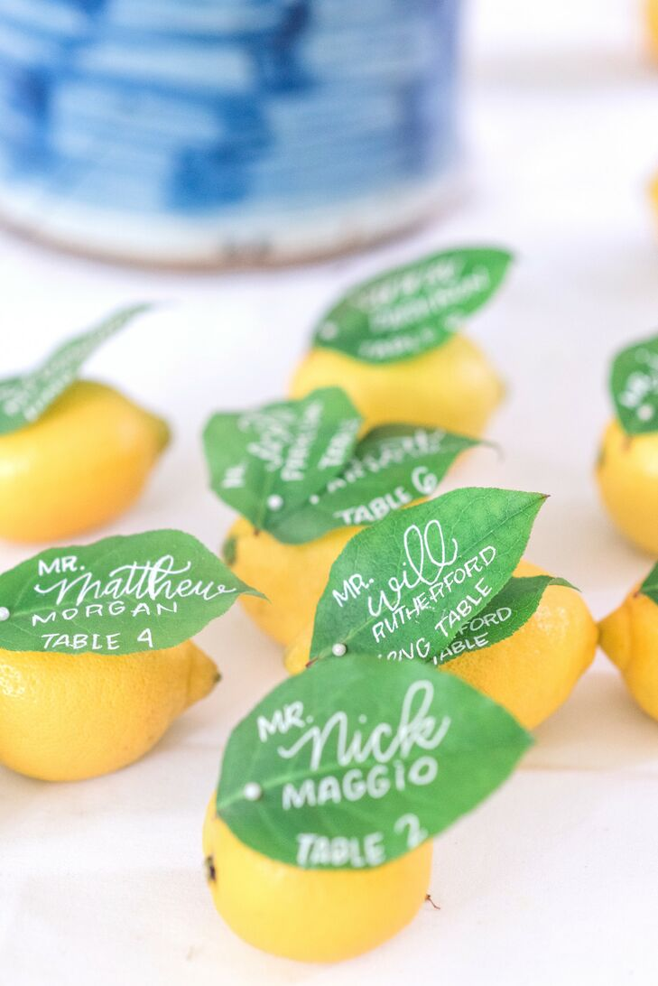 Lemon Escort Cards with Calligraphy on Leaves