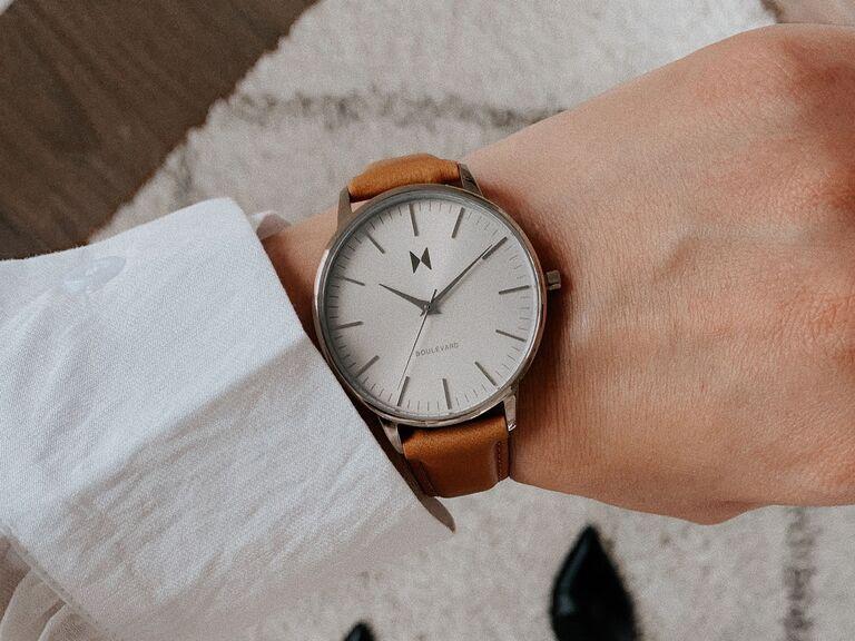 MVMT Boulevard leather strap watch