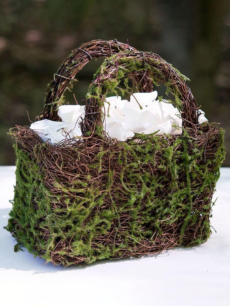 faux moss and wicker flower girl basket