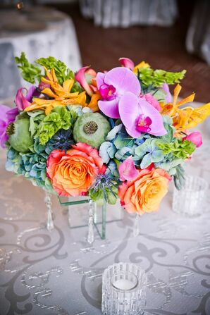 Low Poppy Pod and Phalaenopsis Orchid Centerpiece