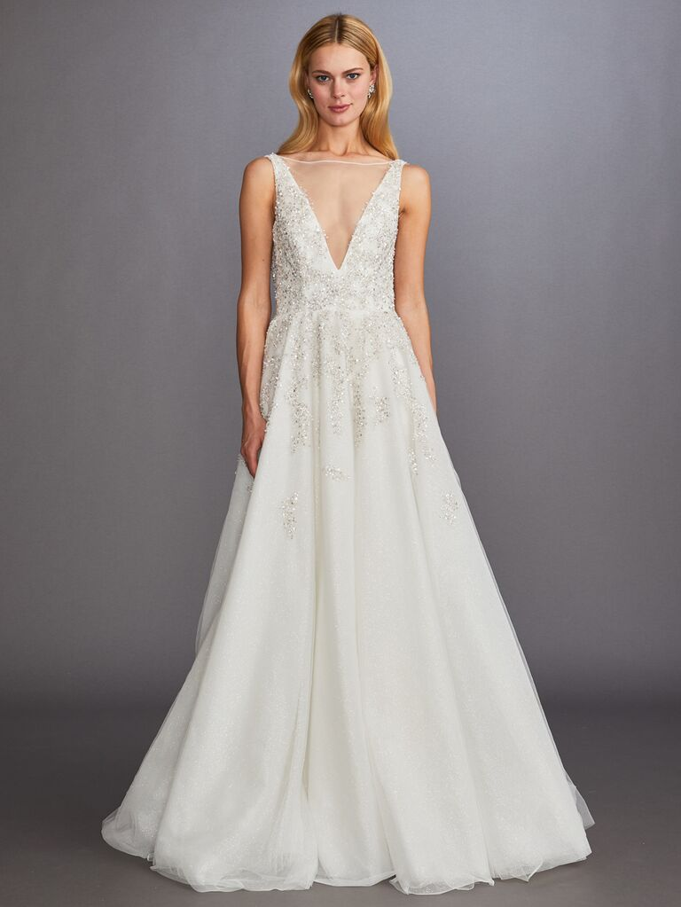 Allison Webb Fall 2019 Bridal Collection embellished illusion neckline wedding dress