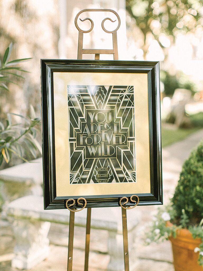 DIY wedding sign with an art-deco theme
