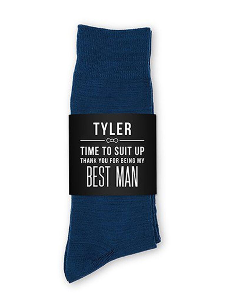 Custom groomsmen socks with personalized packaging