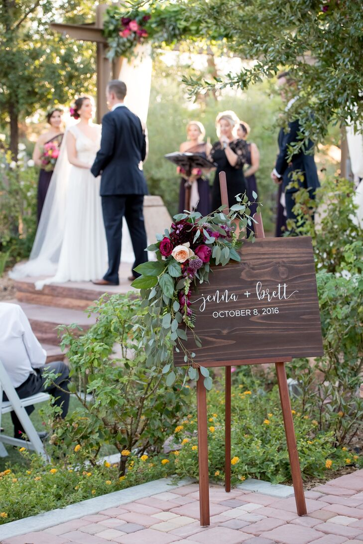 Jenna and Brett exchanged vows at the arboretum at Springs Preserve in Las Vegas, Nevada, near its butterfly habitat. After the ceremony, the newlyweds released butterflies into the air.