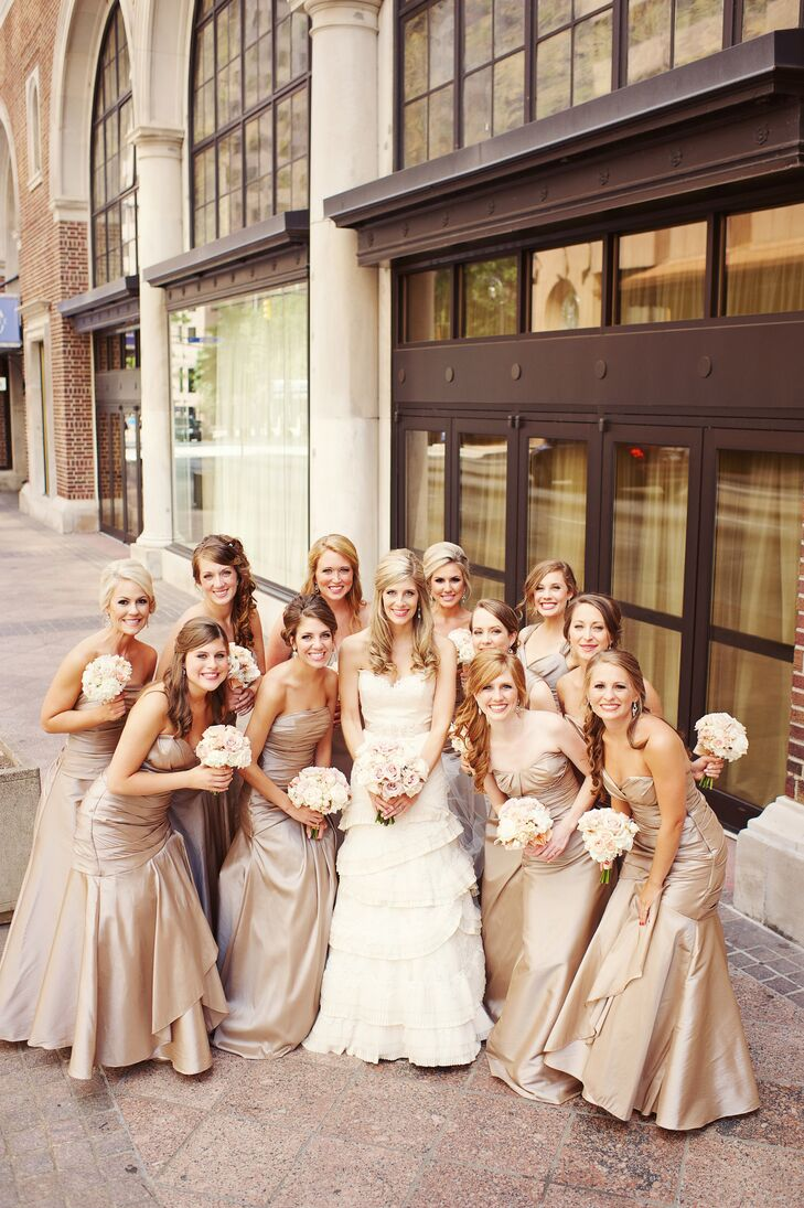 The girls wore strapless taffeta dresses in a taupe hue called toast.