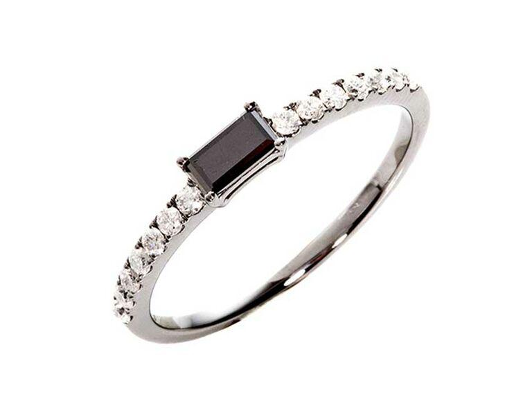 East west emerald cut black diamond engagement ring