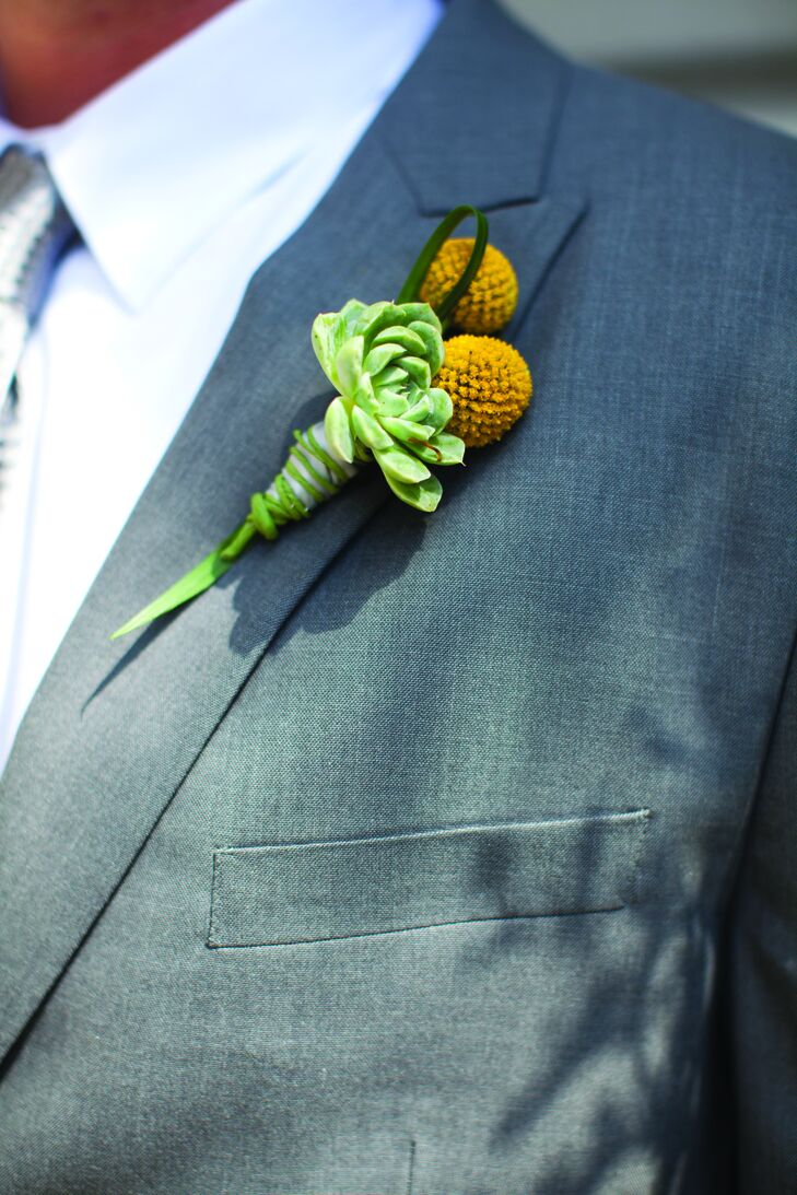 The guys wore craspedia and succulent boutonnieres.