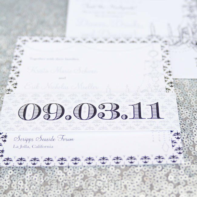 Platinum and pewter ink decorated the bold, modern invitations.