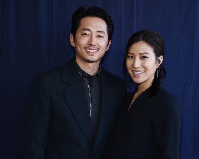 steven yeun wife joana pak in 2019 at the independent spirit awards