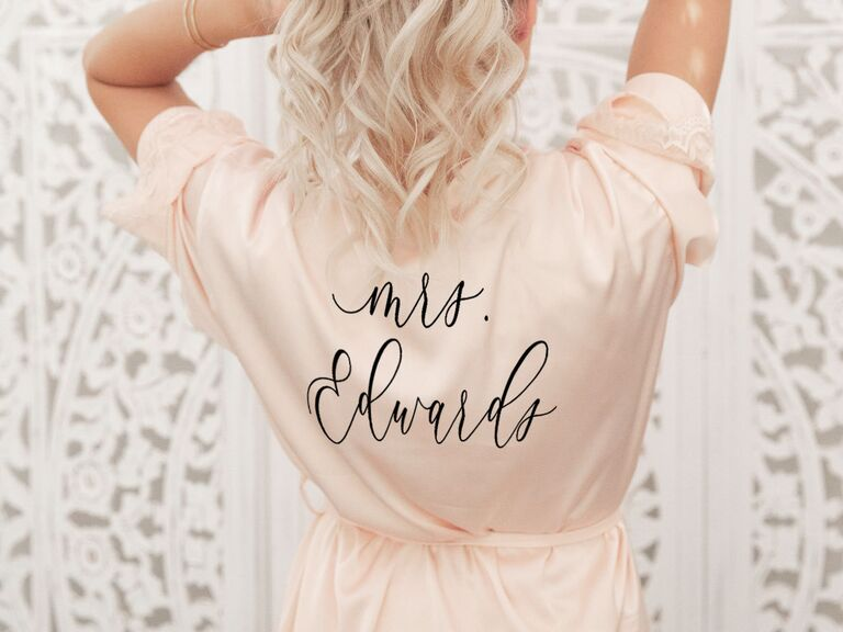 Pink personalized bridal robe