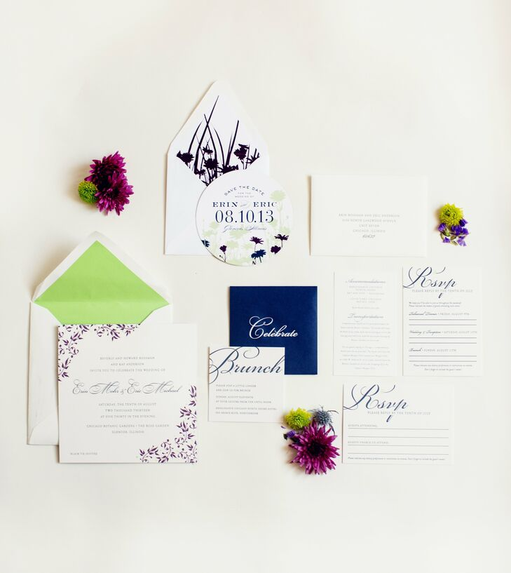 The couple's custom-made stationery had a floral theme throughout. Even though each piece was designed by a different designer, the colors and theme were consistent.