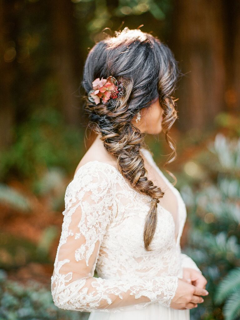 wedding braid hairstyle wispy fishtail braid