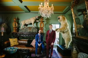 Same-Sex Wedding Portraits with Taxidermy Decorations