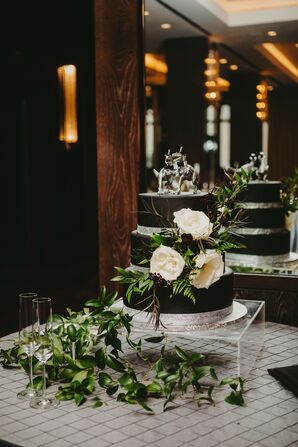 Black Cake with Dinosaur Cake Topper