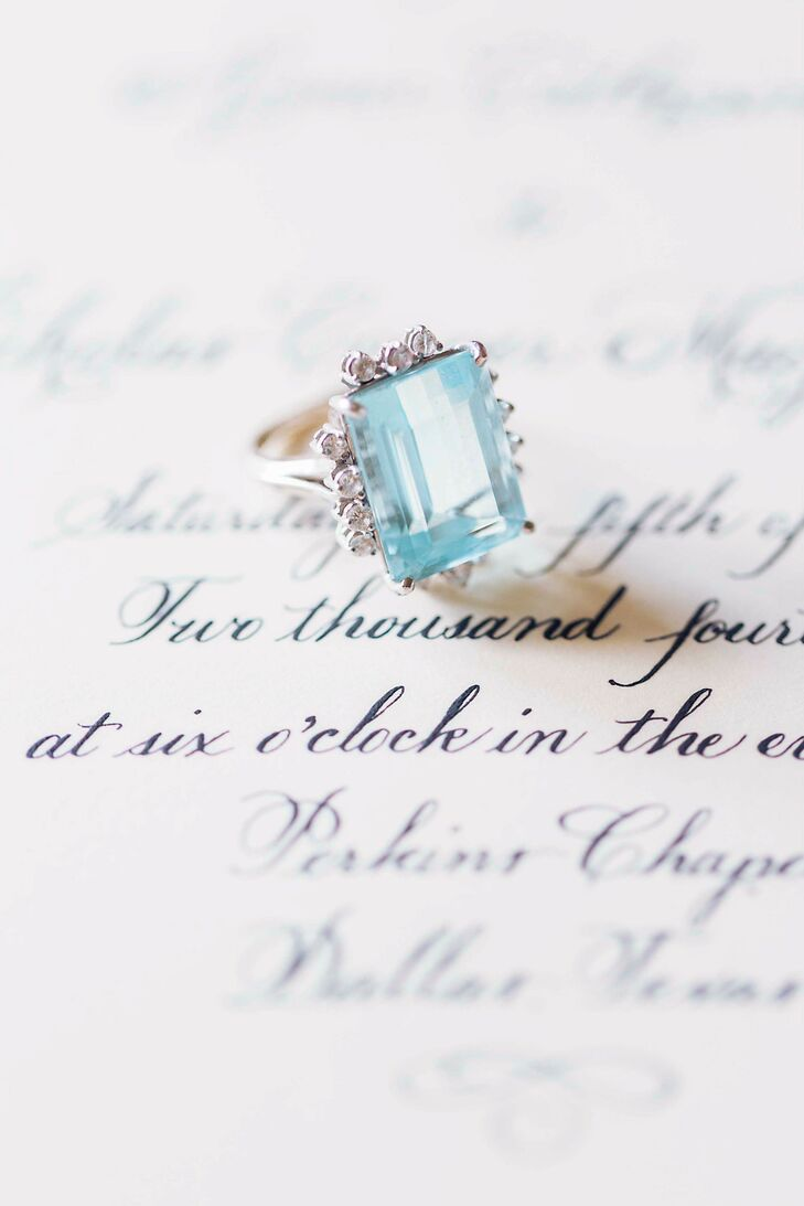 """My maternal grandmother's aquamarine cocktail ring has been the 'something blue' in our family weddings,"" said Aimee. ""I was able to have a piece of her with me and a piece of all those other wedding days. """