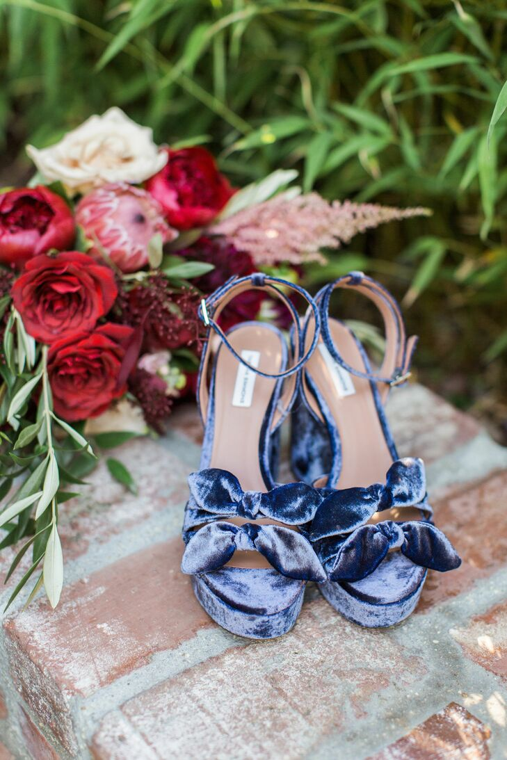 Blue Velvet Heels with Bow Detail