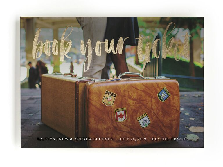 Minted travel-themed destination wedding save-the-date