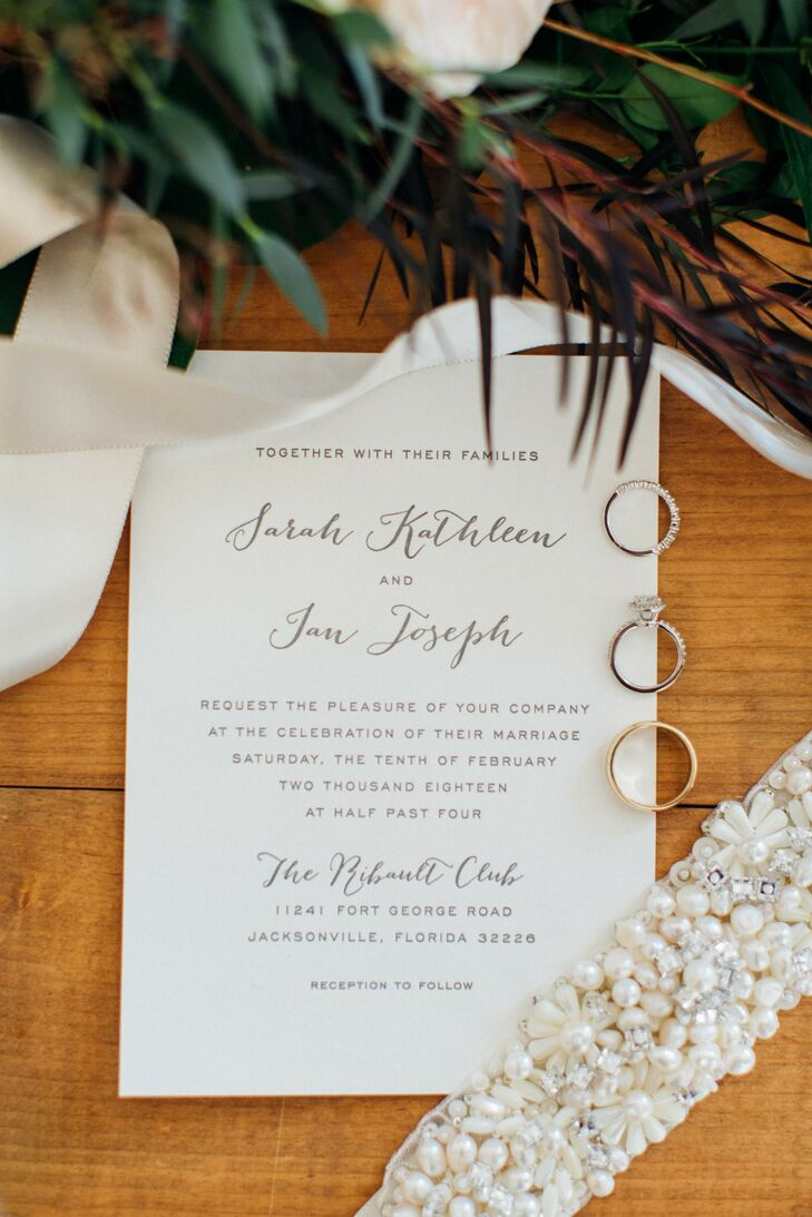 Simple Invitation and Classic Wedding Rings