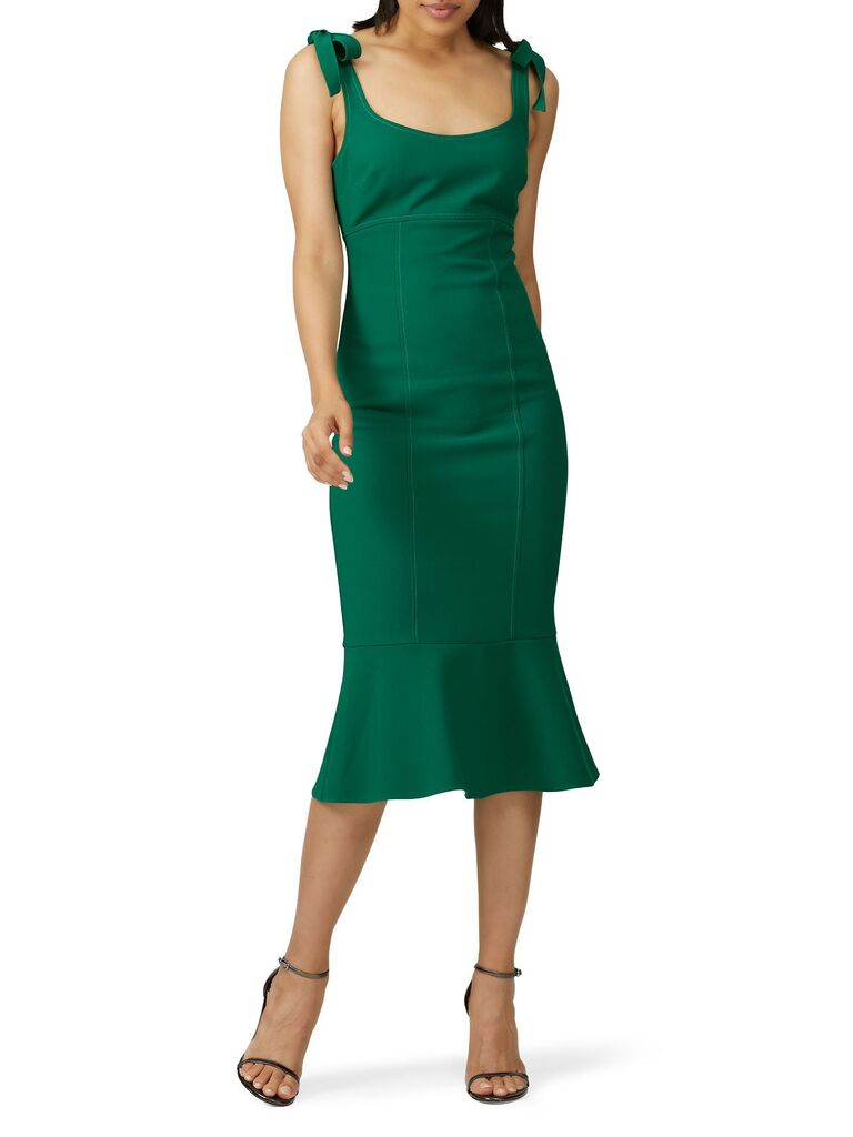 Green midi dress with bow straps